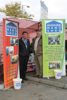 Inverurie and District Men's Shed - promoting the Men's Shed at the recent Farmer's Market