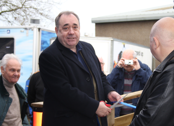 Official opening by Alex Salmond MP of the Inverurie Men's Shed workshop area Unit 19, Harlaw Way, Inverurie  AB51 4SG
