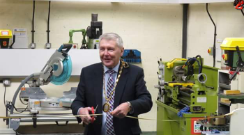 Official opening by the Provost of Aberdeenshire, Councillor Hamish Vernal of the Inverurie Men's Shed workshop area Unit 19, Harlaw Way, Inverurie  AB51 4SG